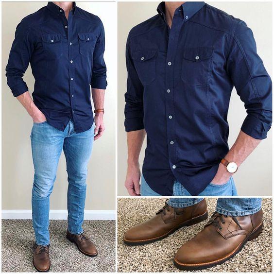 ebbd7bf167 16 ideias de looks com camisas manga longa azul marinho! Moda Masculina e  Tomboy!