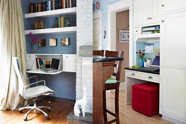 Home office pequeno 20 exemplos bugre for Sala de estar pequena con escritorio